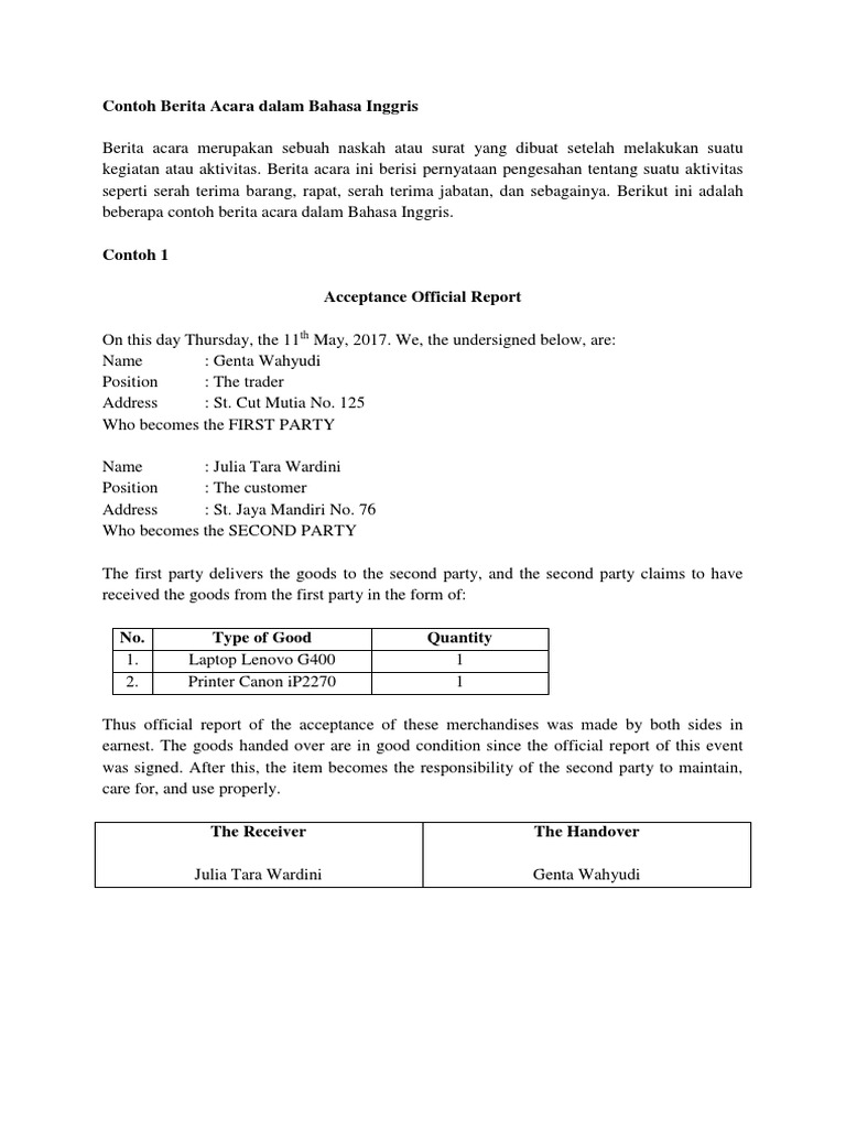 Contoh Surat Berita Acara Bahasa Inggris Suratmenyuratnet