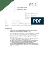 Memorandum of Understanding between City of Vancouver and Housing BC