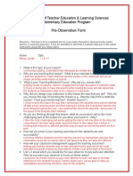 pre observation form