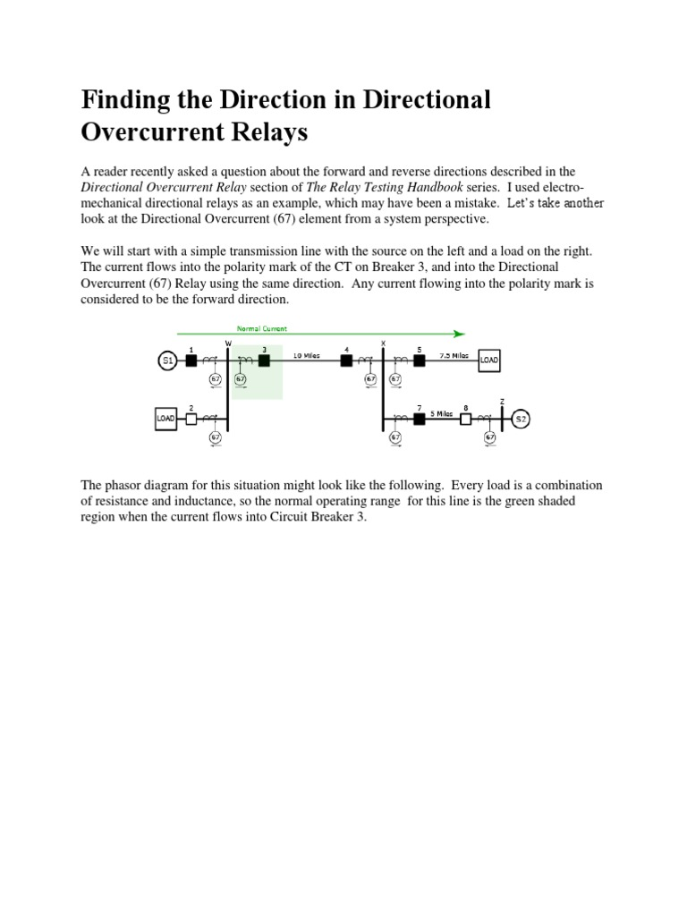 Finding The Direction In Directional Overcurrent Relays Electrical Of Current A Circuit Impedance Relay