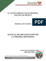Manual de Organización de La Primera Regiduría