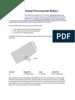 Testing Directional Overcurrent Relays | Relay | Engineering