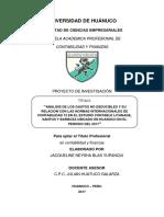 ANALISIS DE LOS GASTOS NO DEDUCIBLES Y SU RELACION CON LAS NORMAS INTERNACIONALES DE CONTABILIDAD 12 EN EL ESTUDIO CONTABLE LIYANAGE, SANTOS Y BARBOZA UBICADO EN HUANUCO EN EL PERIODO DEL 2017