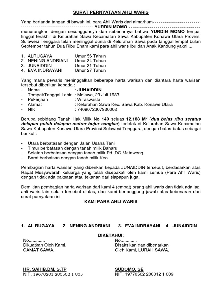Contoh Surat Keterangan Ahli Waris Dari Kecamatan ...
