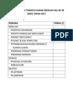 Senarai Semak Temasya Sukan Sekolah Kali Ke 57 Sjk