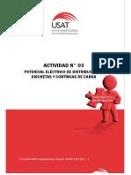 Actividad N° 03. Potencial Eléctrico de Distribuciones Discretas y Continuas de Carga. Física II. Ciclo 2017 - I