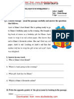 CBSE Class 2 English Practice Worksheets (113) - Unseen Passage