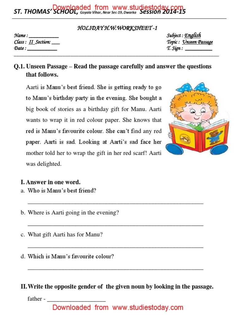 CBSE Class 2 English Practice Worksheets (113) - Unseen Passage | Syntactic  Relationships | Morphology