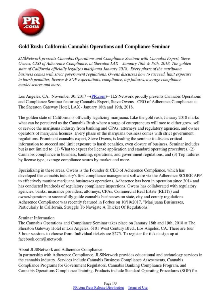 Gold Rush: California Cannabis Operations and Compliance Seminar