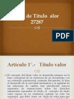 Ley de Titulo Valor 27287 Jan Pool Lopez Yarleque