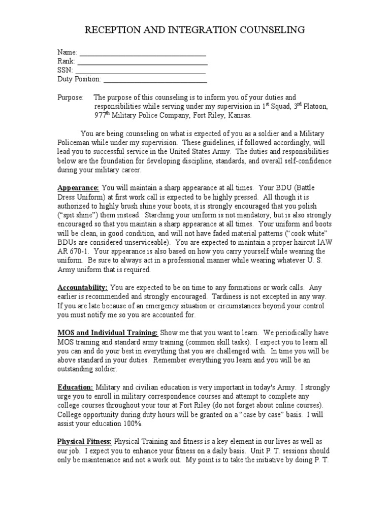 initial counseling template - initial counseling example not on 4856