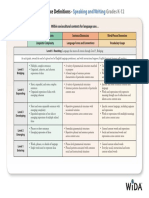 wida performance definitions speakingwriting
