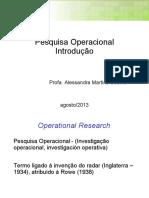 Pesquisa Operacional Introdução