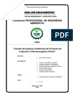 Estudio de Impacto Ambiental del Proyecto de  Irrigación e Hidroenergético Olmos