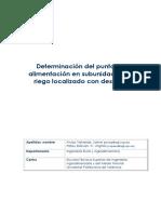 Arviza;Palau - Determinación Del Punto de Alimentación de Una Subunidad de Riego Con Desnivel