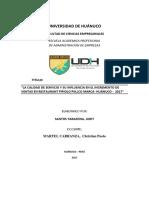 LA CALIDAD DE SERVICIO Y SU INFLUENCIA EN EL INCREMENTO DE VENTAS EN RESTAURANT PIPIOLO PILLCO MARCA- HUÁNUCO -  2017