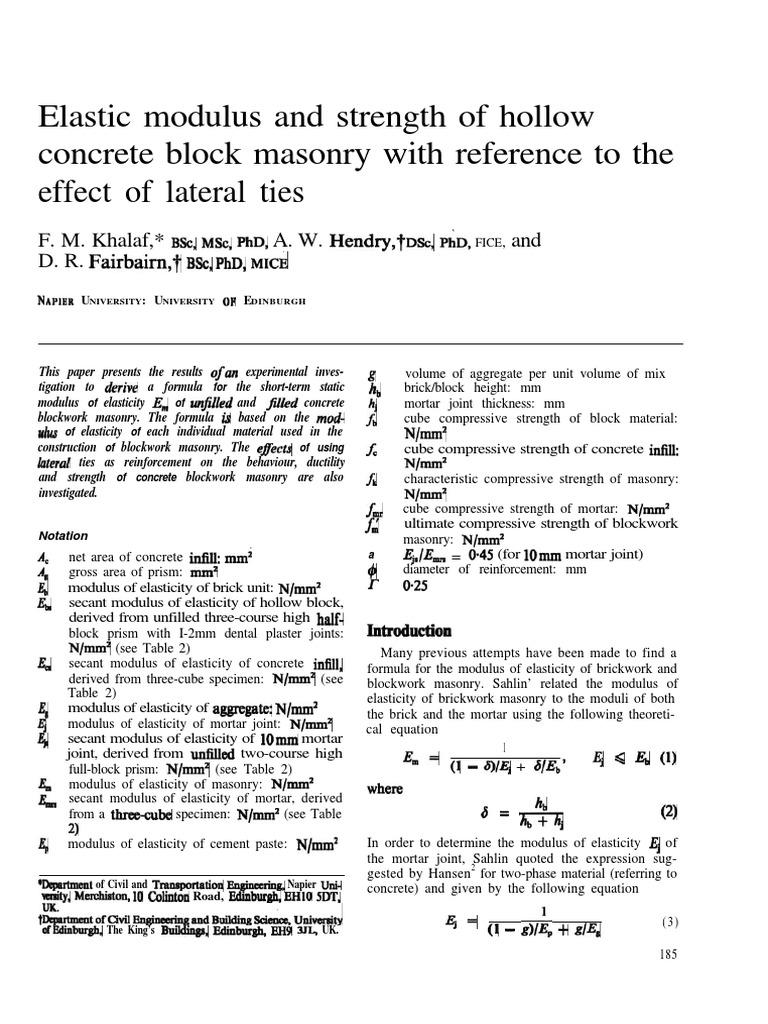 4 Elastic Modulus and Strength of Hollow Concrete Block