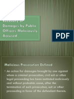 Recovery of Damages by Public Officers Maliciously Accused