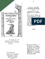 Le Livre Des XXII Feuillettes Hermetiques-Kerdanec de Pornic-FR