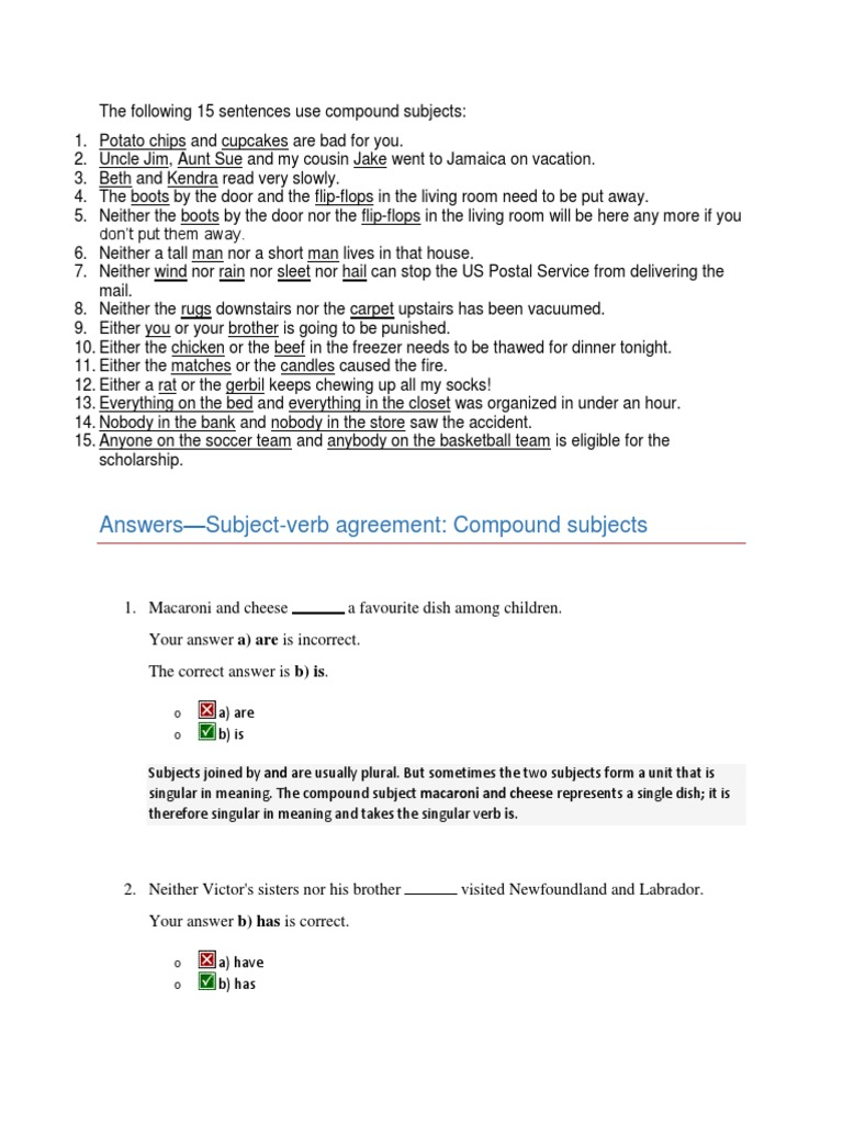 Subject Verb Agreement Compound Subject Grammatical Number Plural