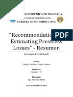 Recommendatios for Estimating Prestress Losses - Capítulo i - Resumen