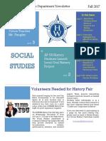 Social Studies Department Fall 2017 Newsletter