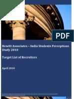 Hewitt Associates_India Students Perception Study_Target List of Companies