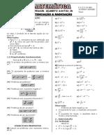 Apostila de Potenciação e Radiciação (4 páginas, 16 questões)