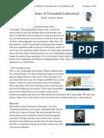 Transcription and Slides of the History of Cavendish Laboratory (Cambridge 4 Aug 2016)