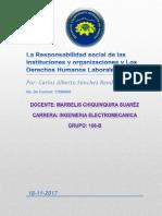 La Responsabilidad Social de Las Instituciones y Organizaciones y Los Derechos Humanos Laborales