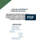 Estudio de Canteras y Fuentes de Agua