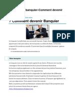 Fiche Métier Banquier-Comment Devenir Banquier