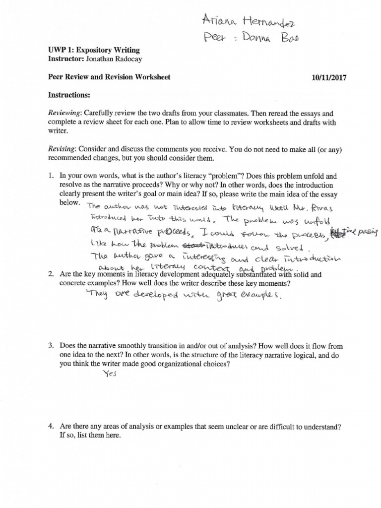 Donna Peer Review 1 Questions