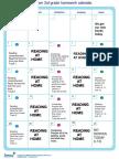 Homework Calendar Sep 3rd.