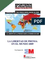 La libertad de prensa en el mundo - Informe 2009 (Reporteros sin fronteras)