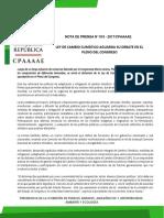 LEY DE CAMBIO CLIMÁTICO AGUARDA SU DEBATE EN EL PLENO DEL CONGRESO