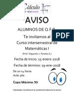 Curso Intersemetral de  Matemáticas I     2018