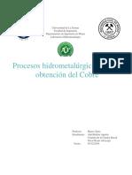 Procesos Hidrometalúrgicos para la obtención del Cobre