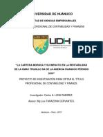 La Evaluacion Crediticia y Su Influencia en La Cartera Morosa en Cajas Del Distrito de Huanuco