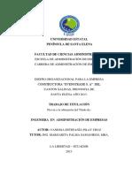 """Diseño Organizacional Para La Empresa Constructora """"Evenstrade s. a"""" Del Cantón Salinas, Provincia de Santa Elena Año 2013._2"""