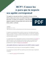 Requisitos Para Ser Agente BCP