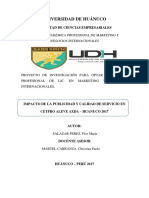 Impacto de La Publicidad y Calidad de Servicios en El CETPRO Aleve Axda Huanuco 2017