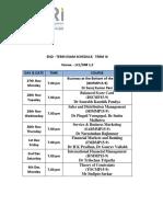 End Term 9 Schedule