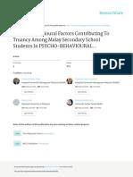 2012 Psycho BehaviouralFactorsContributingToTruancyAmongMalaySecondarySchoolStudentsInMalaysia