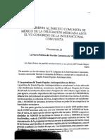 Carta Abierta Al Partido Comunista de México de La Delegación Mexicana Ante El VII Congreso de La IC