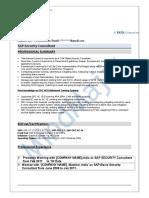SAP Security Sample Resume 3