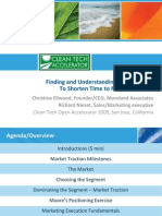 2010 Cleantech Open Academy Finding and Understanding the Customer to Shorten Time to Market Traction Ellwood Nieset