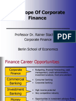 The Scope of Corporate Finance