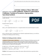 Method of Undetermined Coefficients, Variation of Parameters, Superposition