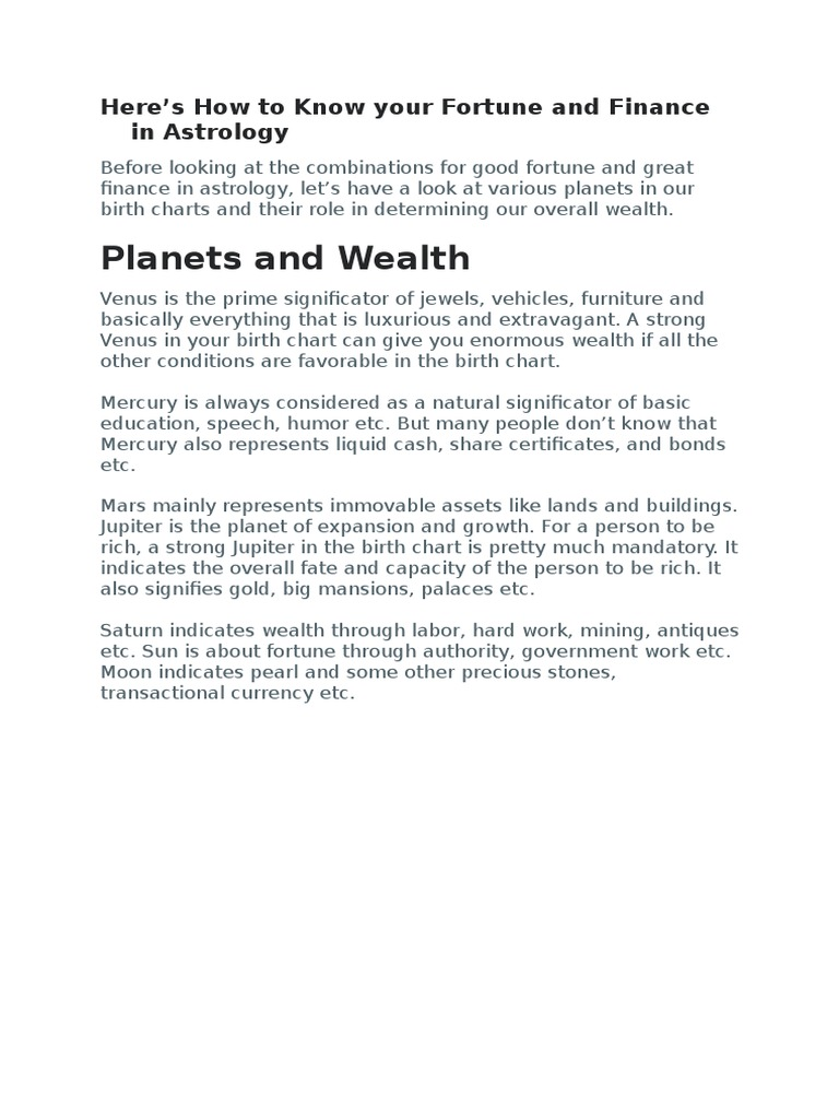 Fortune And Finance In Astrology Planets In Astrology Astrology